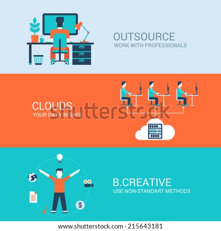 Business technology creative concept flat icons set of outsourcing cloud data storage creativity and vector web illustration website click infographics elements - stock vector