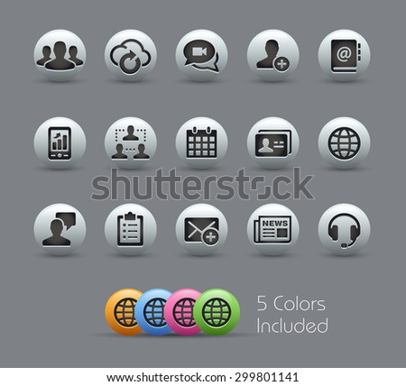 Business Technology Icons // Pearly Series ----- The Vector file includes 5 color versions for each icon in different layers ----- - stock vector