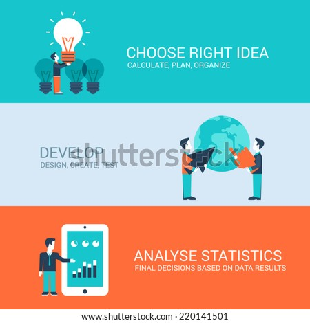 Business technology startup new business concept flat icons set of brainstorming idea development design coding test debug website click for infographics design web elements vector illustration - stock vector