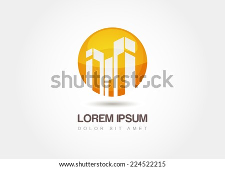 Business technology vector logo template. Abstract design concept for real estate or building company. - stock vector