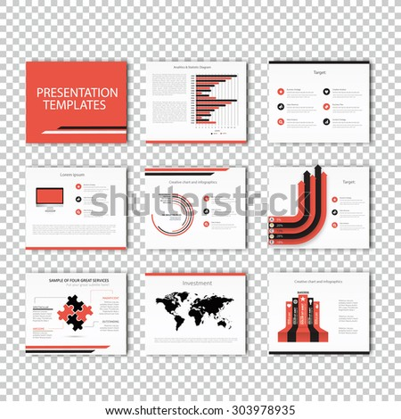Business Template brochure flyer design set Presentation. Red color version. Very easy to use for your next project. - stock vector