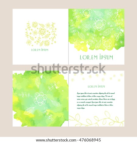 Business template for  card, booklet or brochure with watercolor background. Flower and leaf contour. Vector illustration.