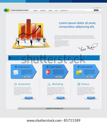 Business template web site with business people - stock vector