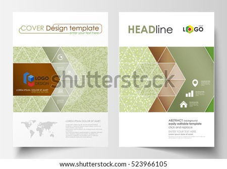 Business templates, brochure, flyer, annual report. Cover design template, layout in A4 size. Green color background with leaves. Spa concept in linear style. Vector decoration for beauty industry