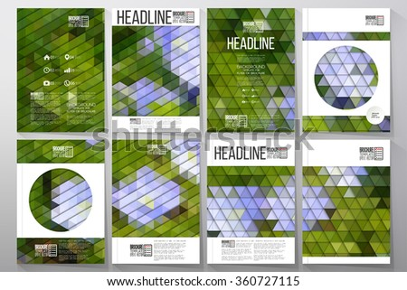 Business templates for brochure, flyer or booklet. Blue flowers on the grass. Collection of abstract multicolored backgrounds. Natural geometrical patterns. Triangular style vector.