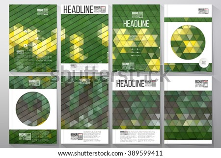 Business templates for brochure, flyer or booklet. Yellow flowers on the grass. Collection of abstract multicolored backgrounds. Natural geometrical patterns. Triangular style vector.