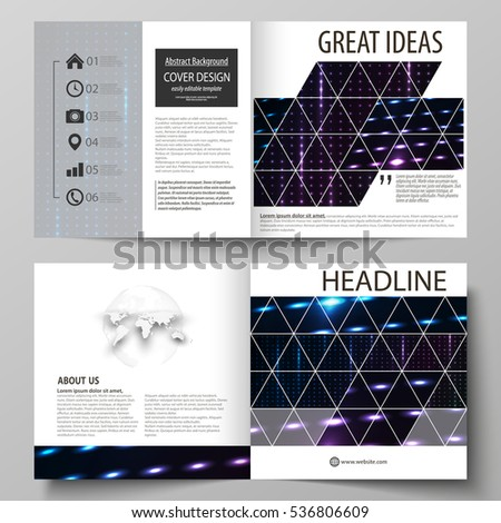 Business templates for square bi fold brochure, magazine, flyer, booklet. Leaflet cover, flat layout. Abstract colorful neon dots, dotted technology background. Futuristic digital vector design.