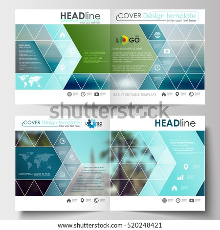 Business templates for square design brochure, magazine, flyer, booklet. Leaflet cover, abstract flat style travel decoration layout, easy editable vector template, colorful blurred natural landscape.