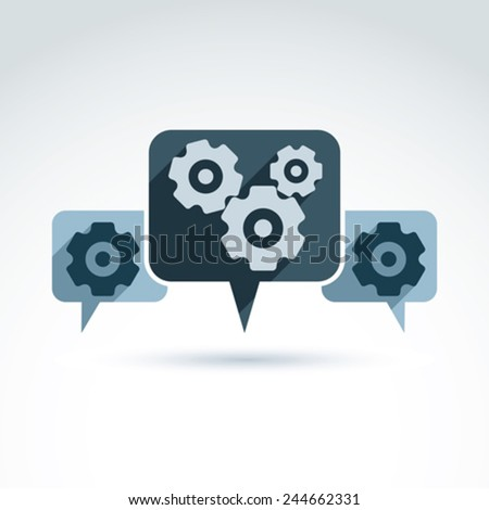 Business theme icon with gears cogs and speech bubbles, vector conceptual unusual symbol for your design. - stock vector