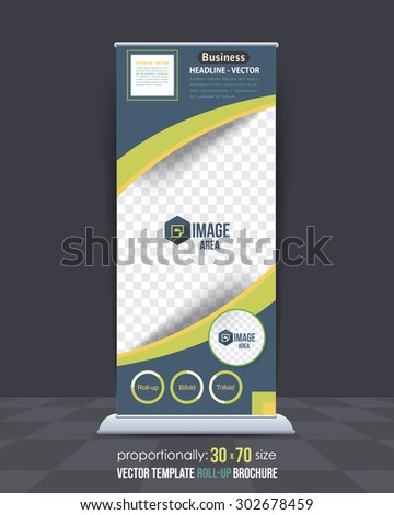 Business Theme Roll-Up Banner Design, Advertising Vector Template  - stock vector
