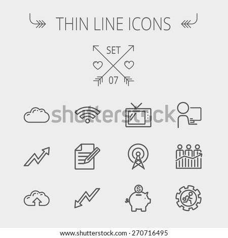 Business thin line icon set for web and mobile. Set includes- wifi, notepad, cloud arrows, antenna, money, gear icons. Modern minimalistic flat design. Vector dark grey icon on light grey background. - stock vector