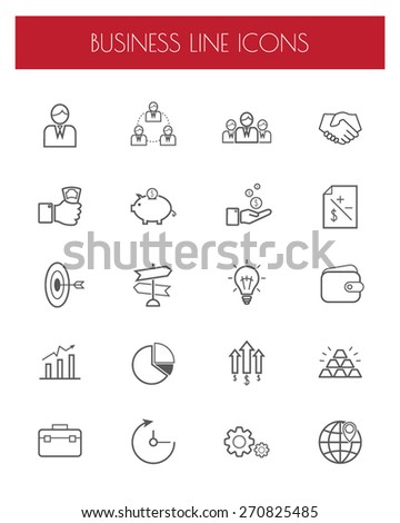 business thin line icon set.vector/illustration. - stock vector