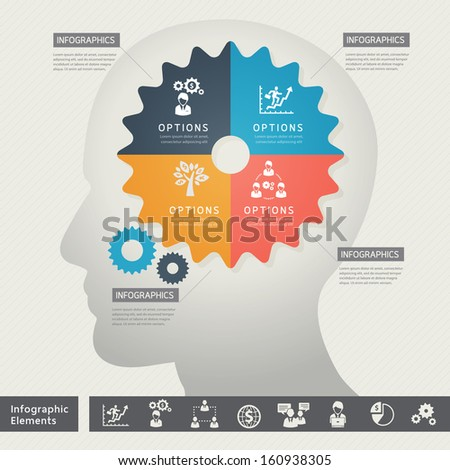Business Thinking Concept Icons with Gear and Brain Illustration  - stock vector