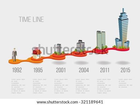 Business Time line with buildings vector illustration - stock vector