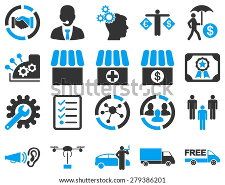 Business, trade, shipment icons. These flat bicolor symbols use modern corporate light blue and gray colors. Images are isolated on a white background. Angles are rounded. - stock vector