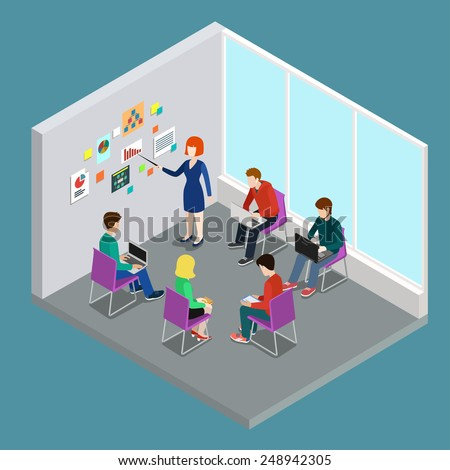 Business training education coaching trainer class flat 3d web isometric infographic concept vector. Office meeting room report business collaboration teamwork brainstorming. - stock vector