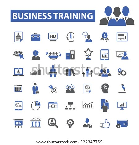 business training icons - stock vector