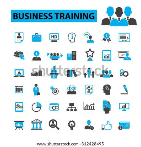 Business training icons concept. Business education, seminar, business school, adult education,  business learning, mba, business people,  university. Vector illustration set - stock vector