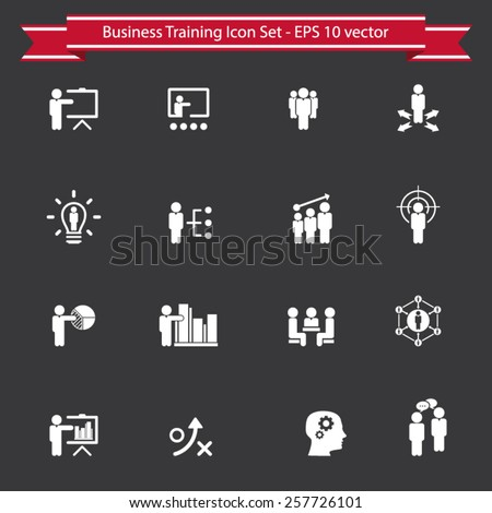 Business training - learning icon set - stock vector