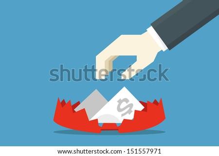 business trap, vector - stock vector