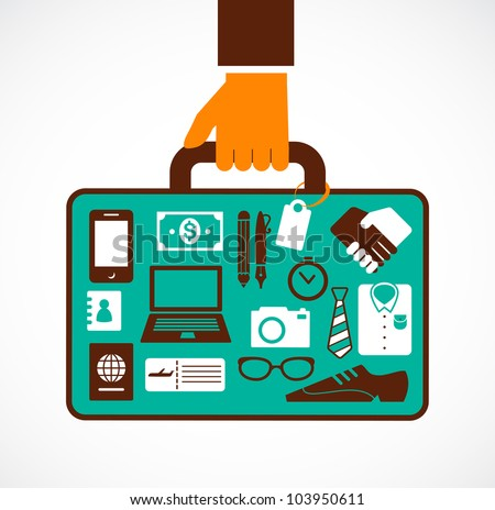 Business travel illustration - man with suitcase - stock vector