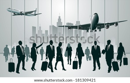 Business travelers in the airport terminal. Vector illustration - stock vector