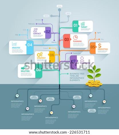 Business Tree Timeline Infographics Vector Illustration Stock ...