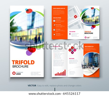 Business tri fold brochure design orange stock vector for Fun brochure templates
