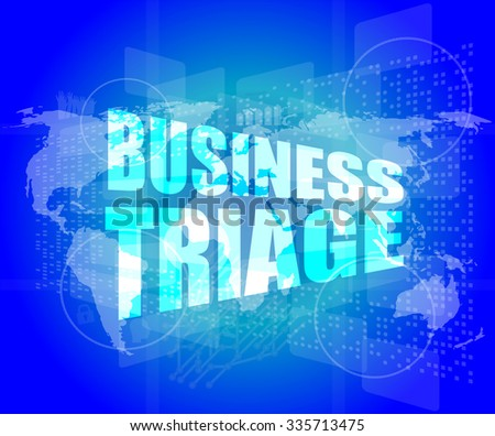 business triage words on touch screen interface vector illustration - stock vector