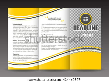 Business Trifold Brochure Template Design Wavy Stock Vector - Business tri fold brochure templates