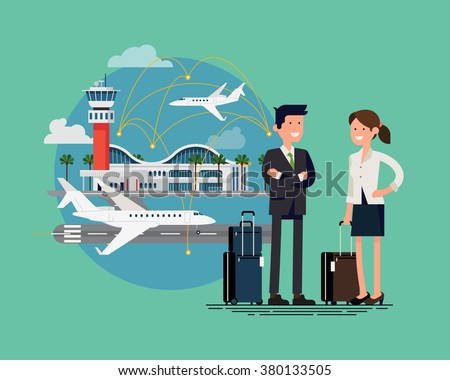 Business trip cool flat illustration. Airway travel. Business man and woman ready to board on business jet at airport terminal. Business characters couple with hand luggage standing - stock vector