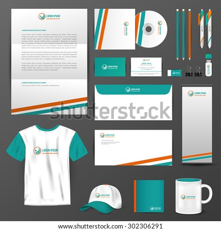 Business uniform, office stationary, and accessories tool such as staff shirt, computer storage device, brochure, mail paper label with brand icon logo design layout and text in isolated background - stock vector