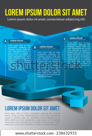 Business vector blue background with three step and with continents - stock vector
