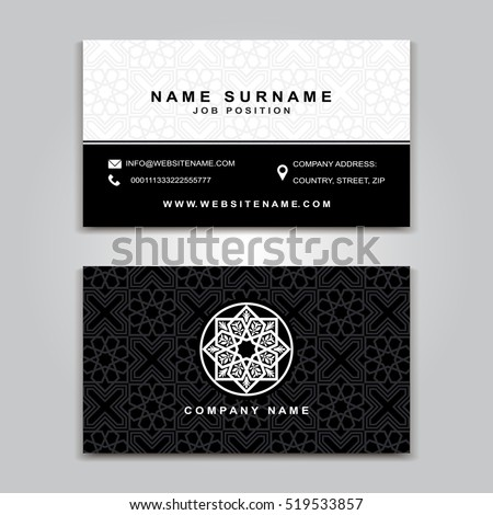 Business Vector Card Creative Design Islamic Style Front And Back Samples Luxury Templates