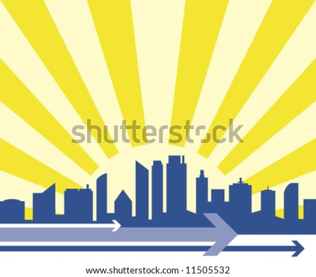 Business vector city skyline with a sunburst behind and directional arrows. - stock vector