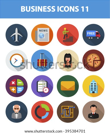 Business vector icon set with long shadow effect for Web, Presentations, Interface design and Mobile Application. Symbols isolated on white background. - stock vector