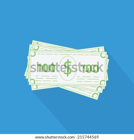 Business vector illustration of flat stack of money icon. 100 dollar bills with long shaddow - stock vector