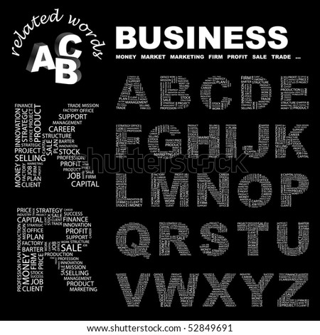 BUSINESS. Vector letter collection. Wordcloud illustration.