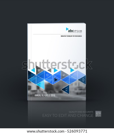 Business vector set. Brochure template layout, cover design annual report, flyer in A4 with blue  triangles, arrows for business, buildings, nature on bright background. Abstract creative design.