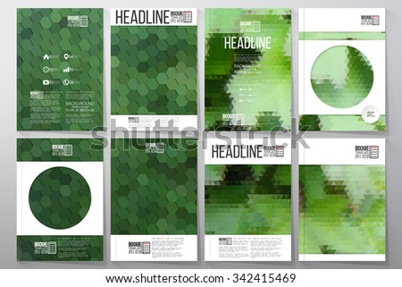 Business vector templates for brochure, flyer or booklet. Green leaves texture. Collection of abstract multicolored backgrounds. Natural geometrical patterns. Triangular and hexagonal style vector