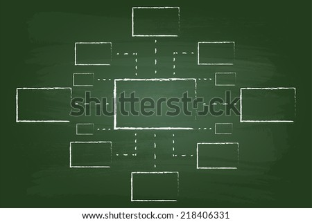 Business Vision Flow Chart Rectangles Graphic On Green Board - stock vector