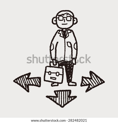 business way doodle - stock vector