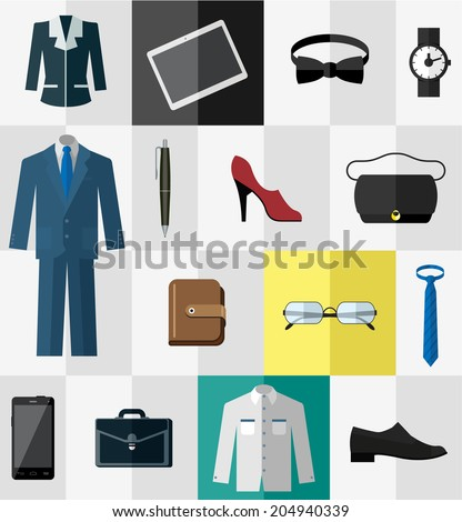 Business wear and other business accessories for men and women - stock vector