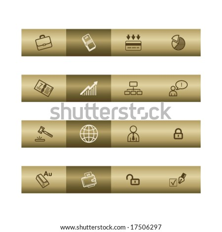 Business web icons on bronze bar. Vector file has layers, all icons in two versions are included. - stock vector