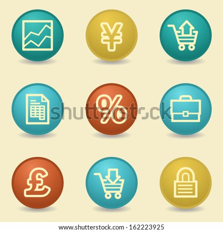 Business web icons, retro buttons