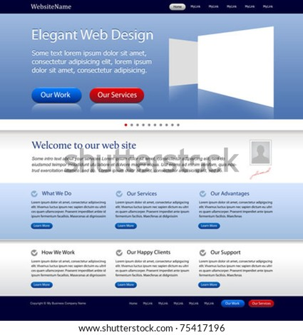 business web site template - stock vector