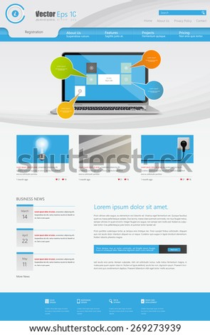 Business Website Design Template Vector illustration. One page style.