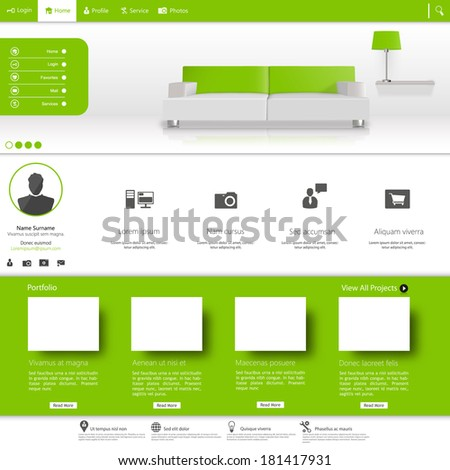 Business website template, Clean Minimalist Style  - stock vector