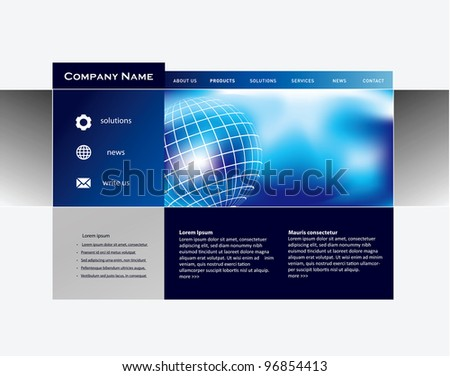 Business website template in vector format - stock vector