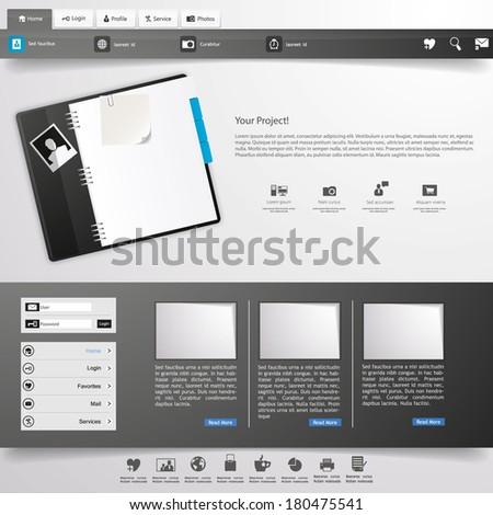 Business website template, vector,  - stock vector